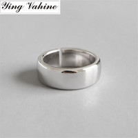 ying Vahine 2019 Hot Jewelry New Silver 925 Ring Glossy 7mm Wide Open Rings for Women anillos plata 925 para mujer
