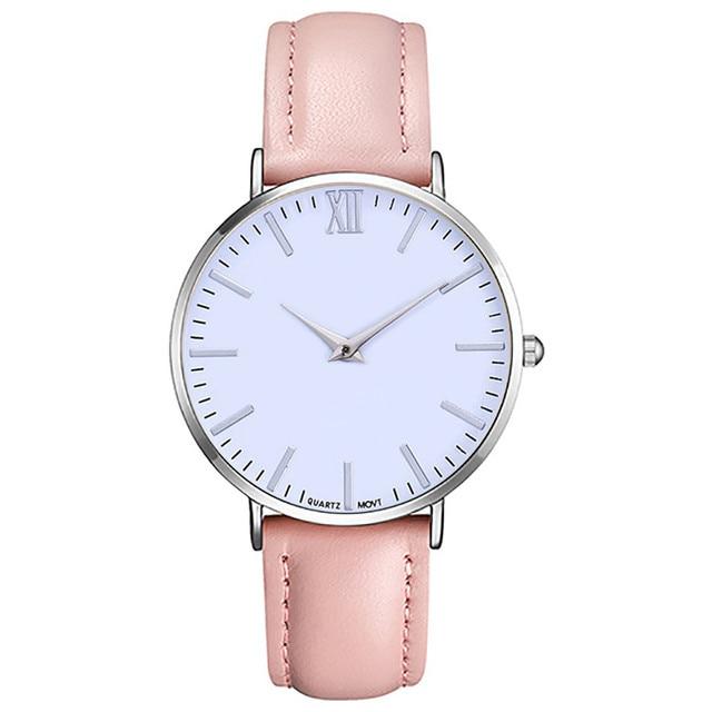 6 Colors Women Fashion Leather Band Analog Quartz Round Wrist Watch Watches relogio feminino Fashion Dress