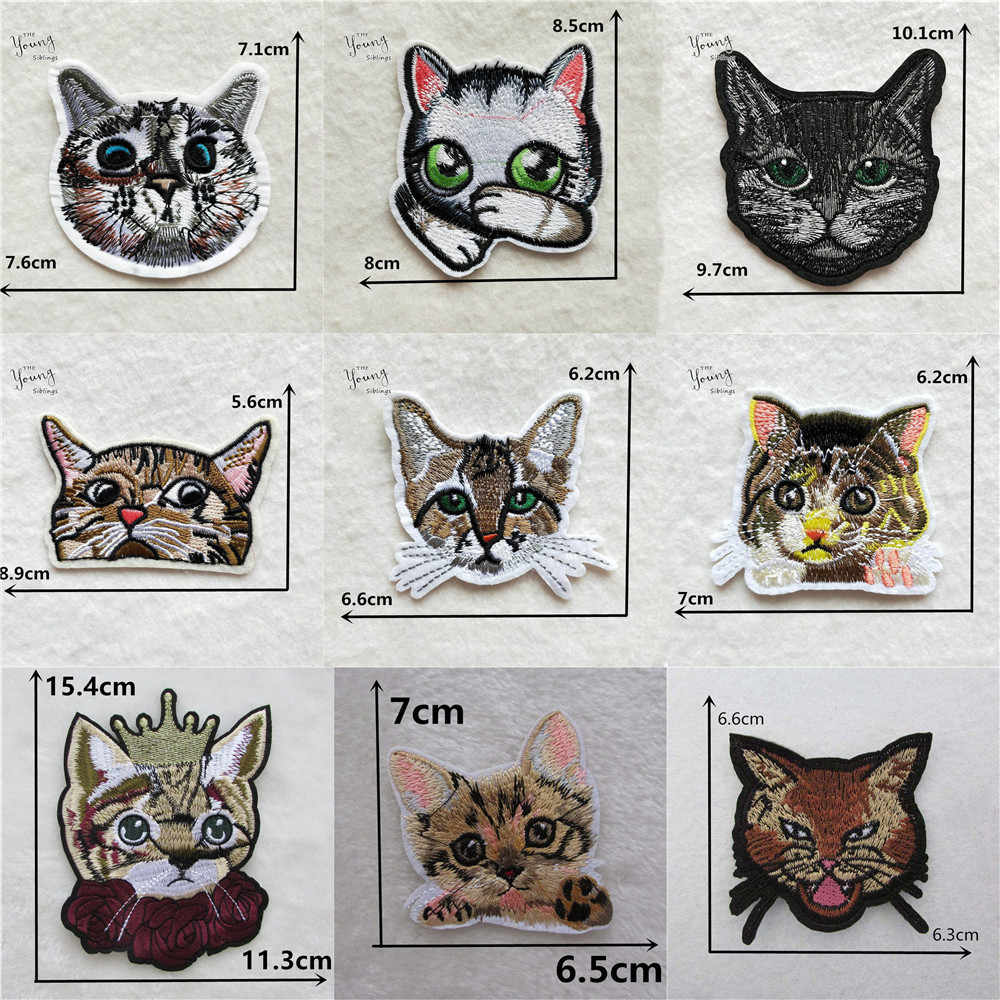 Cartoon Cat Owl Embroiderey patches Animal Iron on Clothes DIY Badges Patch Clothes Appliques Stripes Stickers Sewing Accessory