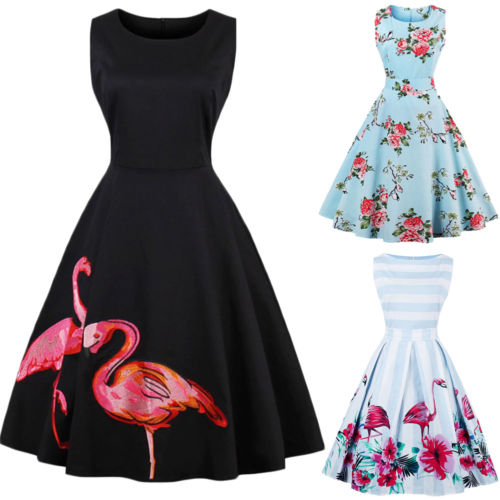 Fashion Women Long Formal Dress Floral Flamingo Party Ball Gown Sleeveless Dress Women Clothes