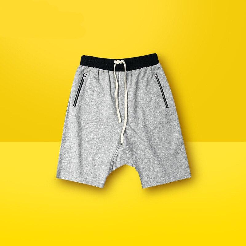 Mens Fashion Hip Hop Harem Shorts Drop Crotch Loose Men Short Pants Drawstring Pocket With Zipper Shorts For Male