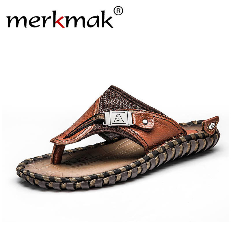 Merkmak Brand Genuine Leather Summer Men Slippers Beach Sandals Comfort Men Casual Shoes Fashion Men Flip Flops Drop Shipping 50mm width aluminum roller linear guide rail external dual axis linear guide 1pcs osgr10 l 300mm 1pcs osgb10 block