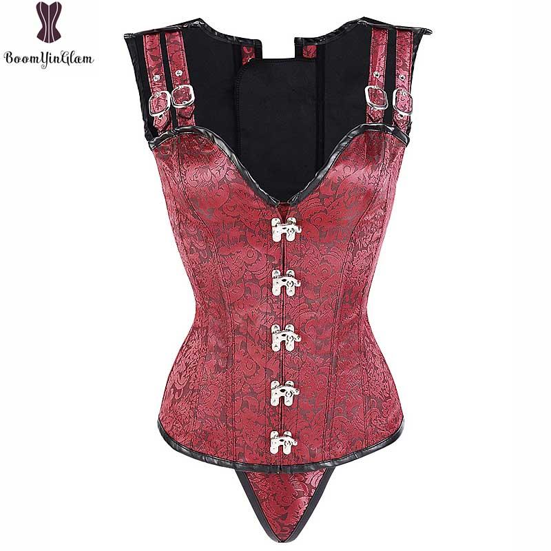 Steampunk Corset Spiral Steel Boned Korsett For Women Sexy Red Black Jacket Gothic Gorset Jacquard Floral Waist Slimming Bustier