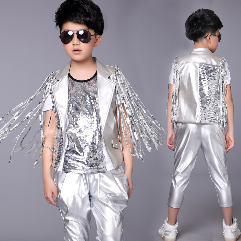 Shining Silver Stage Performance Costumes Child Hip Hop Jazz Dance Clothes Sequins Boy Tassel Chorus Drums Outfits