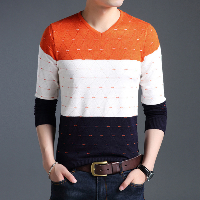 2018 brand social cotton thin men's pullover sweaters casual crocheted striped knitted sweater men masculino jersey clothes .
