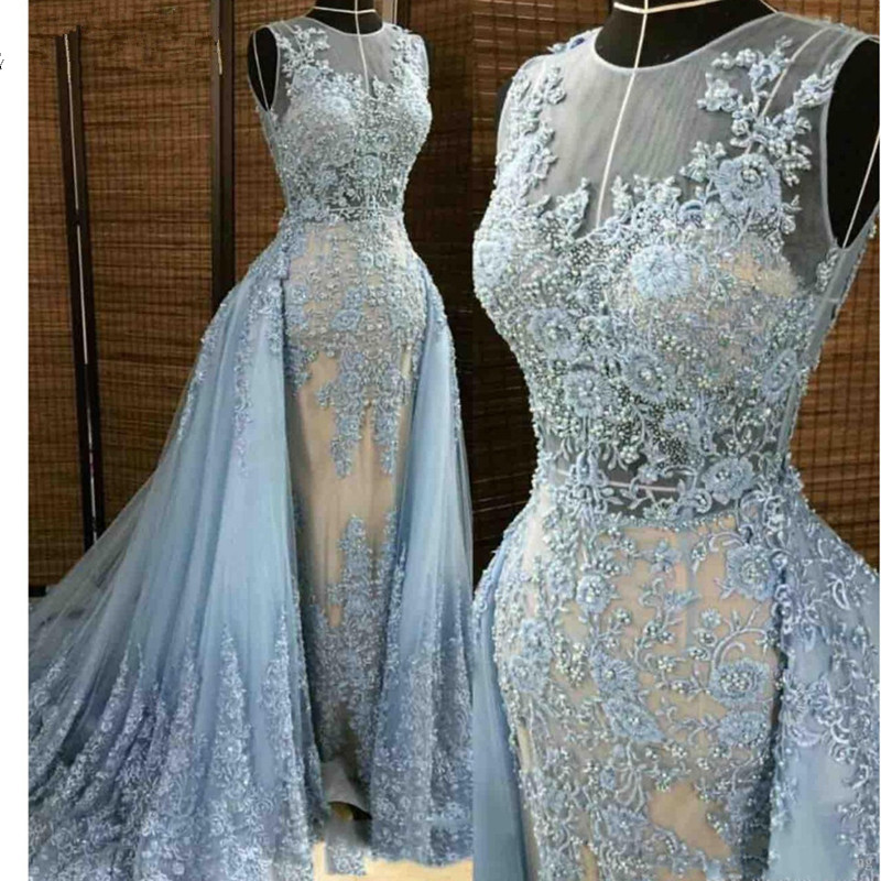 Sky Blue Evening Dresses 2018 Mermaid Tulle Lace Pearls Detachable