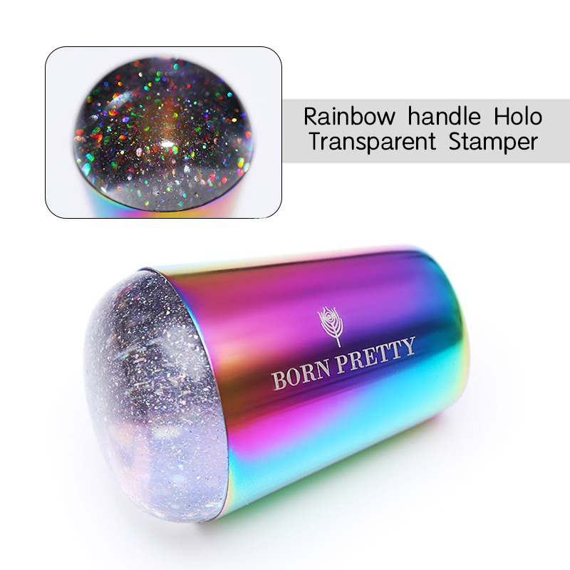 BORN PRETTY handle Holographic Transparent Nail Stamper for Stamping Plate Holo Clear Stamper Head Nail Art Templates 5