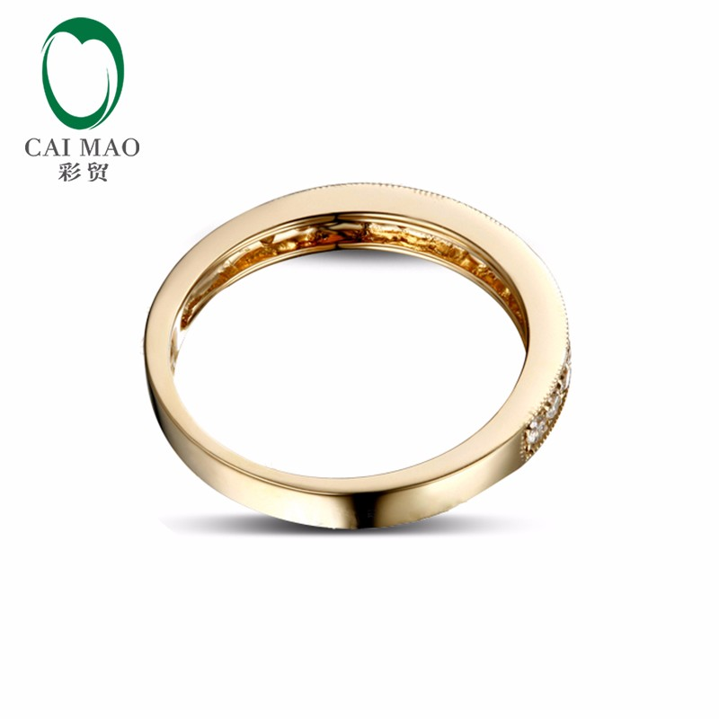 0-25ct-Solid-14k-Yellow-Gold-Natural-Diamond-Engagement-Wedding-Band-Ring-3