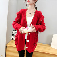 Women Autumn Kimono cardigan Red Ruffles sweater jacket sweet girl thicker knitted sweater ladies cardigan