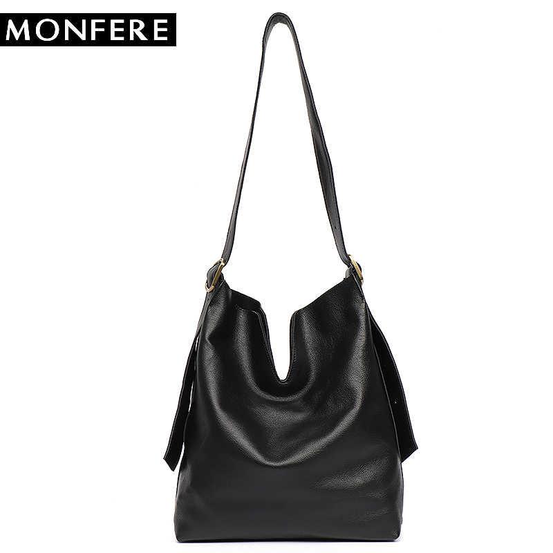 MONFERE Genuine Leather Hobo Handbags Women Classic Vintage Shoulder Bags  Casual Soft Black Leather Tote Crossbody 29390b6f7768c