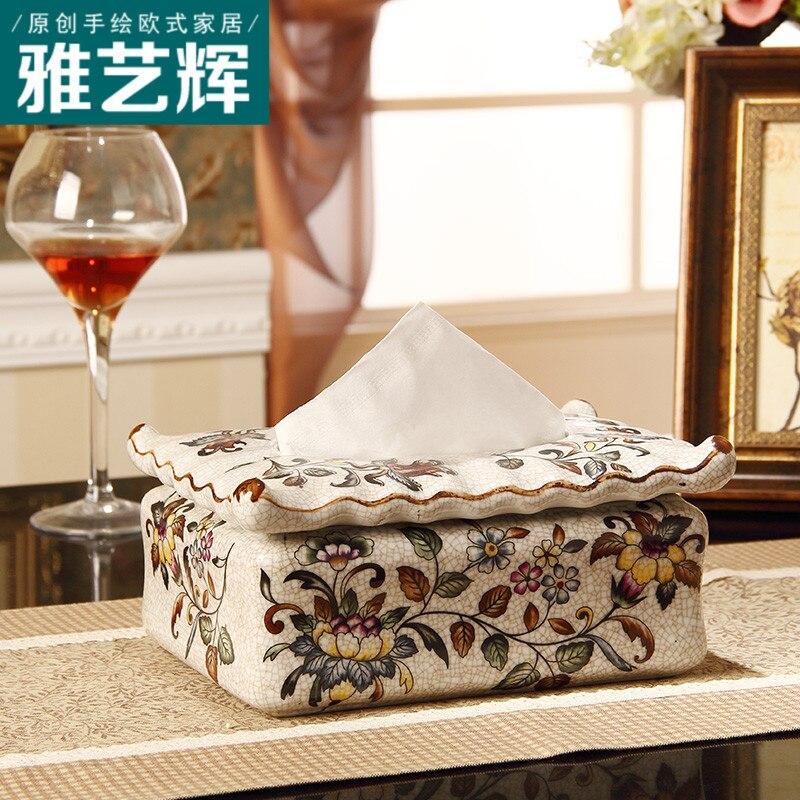 Européen-américain américain décoration de la maison rétro luxe palace en céramique fissures papier serviette plateau nouveau chinois