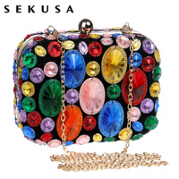 Newest Hot Selling Beaded Handbags Colorful Acrylic Evening Bags Clutch Purse Metal Evening Bags For Wedding