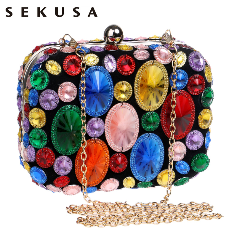 SEKUSA Acrylic Beaded Women Evening Bags With Chain Shoulder Small Purse Day Clutches For Wedding Party Dinner Evening Bags retro 2017 floral beaded handbag women shoulder bags day clutch bride rhinestone evening bags for wedding party clutches purses