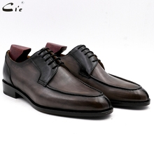 Cie chaussures en cuir de veau complet à bout rond pour hommes, chaussures de mariage formelles, derby, faites à la main, grains gris et noirs, No.DE00