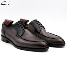 Cie vòng toe đầy đủ hạt da bê đàn ông giày da phục chính thức derby giày cưới người đàn ông handmade màu xám đen pebble grain không có. DE00