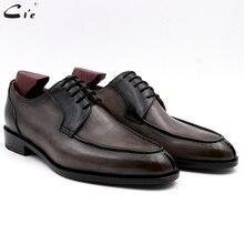 Мужские кожаные туфли cie, с круглым носком, с натуральным лицевым покрытием, Кожаные Деловые туфли дерби, свадебные туфли для мужчин ручной работы, серые, черные, с зернистой поверхностью № DE00
