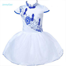 Купить с кэшбэком JaneyGao 2019 Summer Flower Girl Dress Kids Party Gown Chinese Style New Fashion Cute First Communion Dress On Sale In Stock
