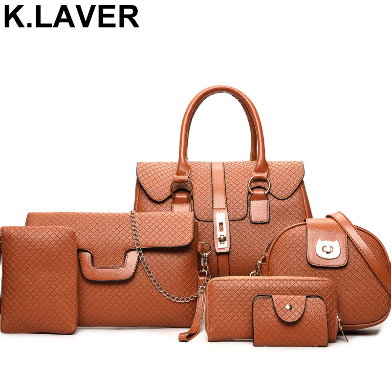 Brand Luxury 6 Pieces Set PU Leather Women Handbag Female Shoulder Crossbody Messenger Bag Lady Clutch Wallet Tote Bags Purse