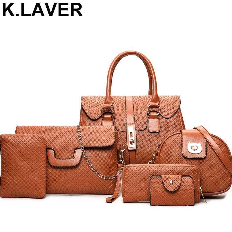 5ec1e937c4c40b Detail Feedback Questions about Brand Luxury 6 Pieces Set PU Leather Women  Handbag Female Shoulder Crossbody Messenger Bag Lady Clutch Wallet Tote Bags  ...