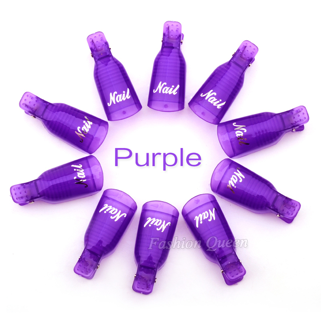 10pcs/set Wearable Acrylic Nail Art Soak Off Cap Clip UV Gel Polish Remover Wrap Tools DIY Beauty Nail Care Tools