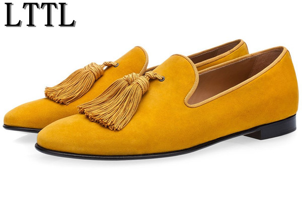 LTTL Luxury Suede Slippers Men Tassel Loafers Shoes Velour Smoking Slip-on Men's Flats Party Wedding Shoes Mens Dress Shoes fashion design new hot men flat gentleman shoes luxury suede tassel loafers slip on business dress shoes party wedding shoes man