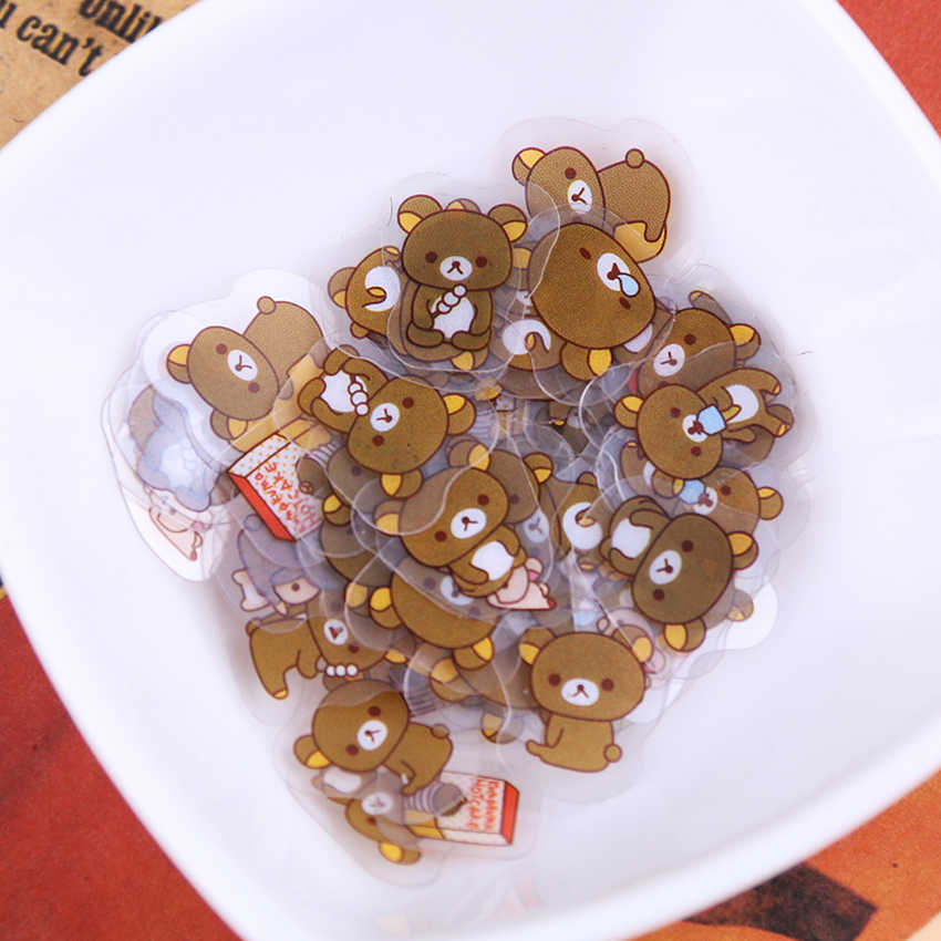 80 PCS/1 Packs Leuke Rilakkuma Dagboek Sticker Kawaii Stickers voor Kinderen Koreaanse Briefpapier Sticker Novelty Gift