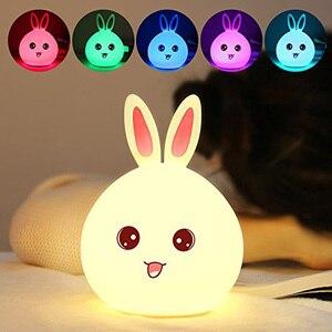 Image 1 - Rabbit Lamp Bunny LED Night Light Childrens Nightlight Baby Sleeping Bedside Lamp USB Silicone Tap Control Touch Sensor Light