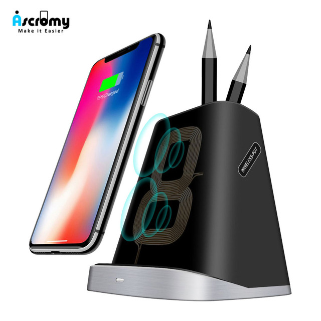 Ascromy Fast Wireless Charger Stand Pen Holder for iPhone XS Max X XR 8 Plus Samsung Note 9 8 S9 S8 S7 10W QI Induction Charging
