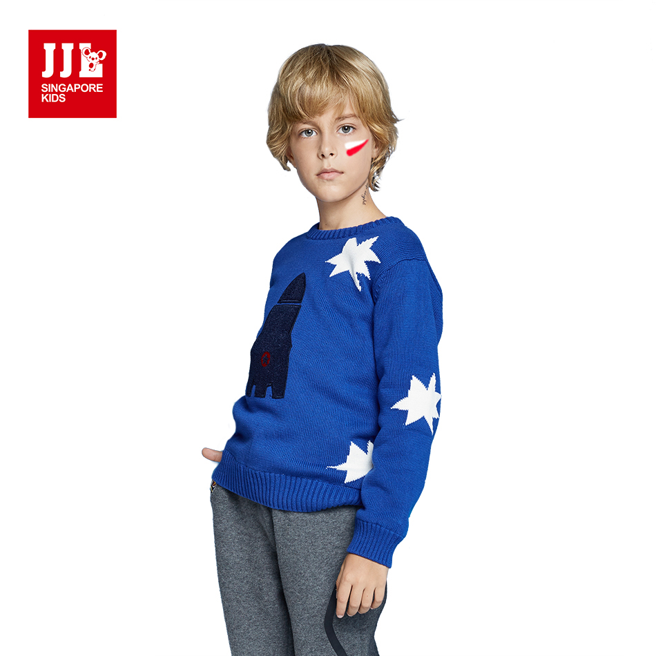 JJL KIDS Autumn Fashion Casual Sweater Boys Cotton Kid's Clothes 2018 Full Sleeve Children O-Neck Cartoon Clothing For 7-15years цена 2017