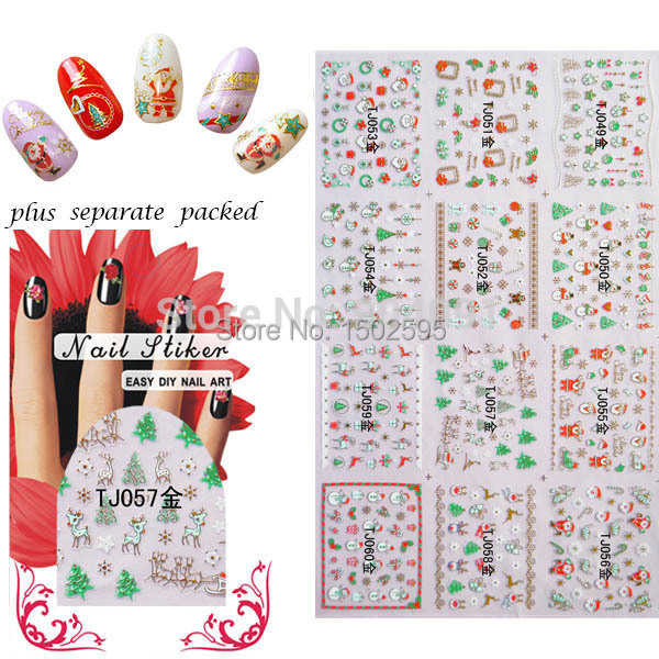 WHOLESALE 90Sheet/LOT 3D Glitter Gold Christmas stickers for nails nail Accessories for nail art design individually packaging
