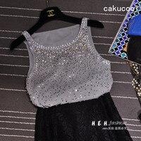 Cakucool Women Beading Tanks Mesh Diamond Sequins Camisole Korea Design Summer Basic Tank Top Camis Female