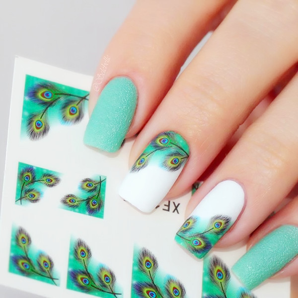 1sheet Fancy Colorful Feather Eyes French Edge Nail Water Decals Sticker Transfer Nail Stickers B105/B10 1sheet 6pcs 3d nail art sticker golden stripe heart houndstooth patterned 1sheet