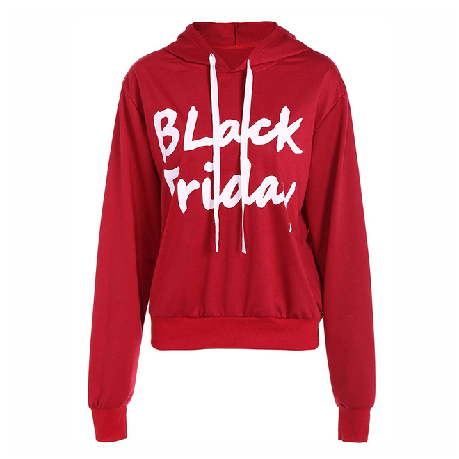 Autumn Winter Black Friday Letter Print Hooded Womens Long Sleeve Sweatshirt for ladies