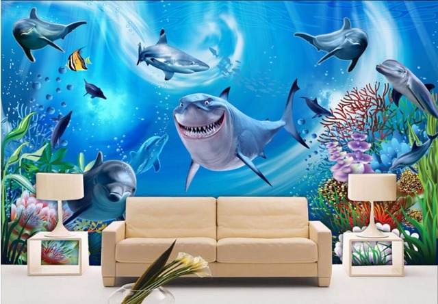 Custom Photo 3d Wallpaper Shark Dolphin Group Decoration Wall Papers Home  Decor 3d Wall Murals Wallpaper