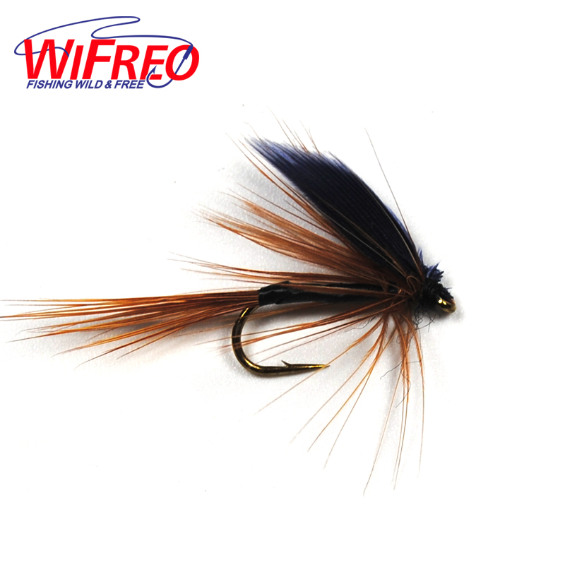 10PCS 10# Wifreo Fly Fishing Trout Black Wing Brown Mayfly 10pcs black