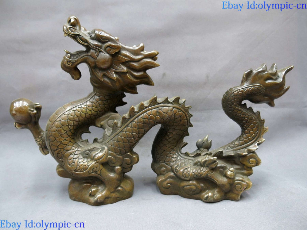 China brass copper feng shui carved lucky dragon play bead sculpture Statue China brass copper feng shui carved lucky dragon play bead sculpture Statue