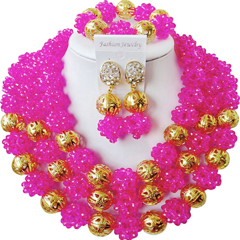 High Cost Performance Fuchsia Pink African Engagement Crystal Jewelry Set for Lover 3C-SJXJS-04