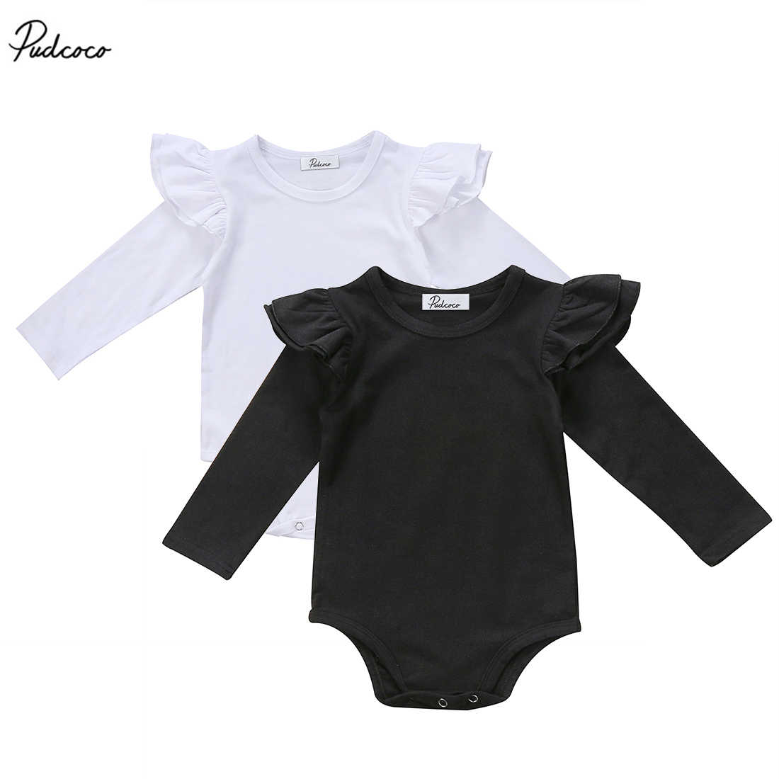 Cute Newborn Infant Baby Girls Long Sleeve Ruffle Romper Solid Jumpsuit Outfit Clothes