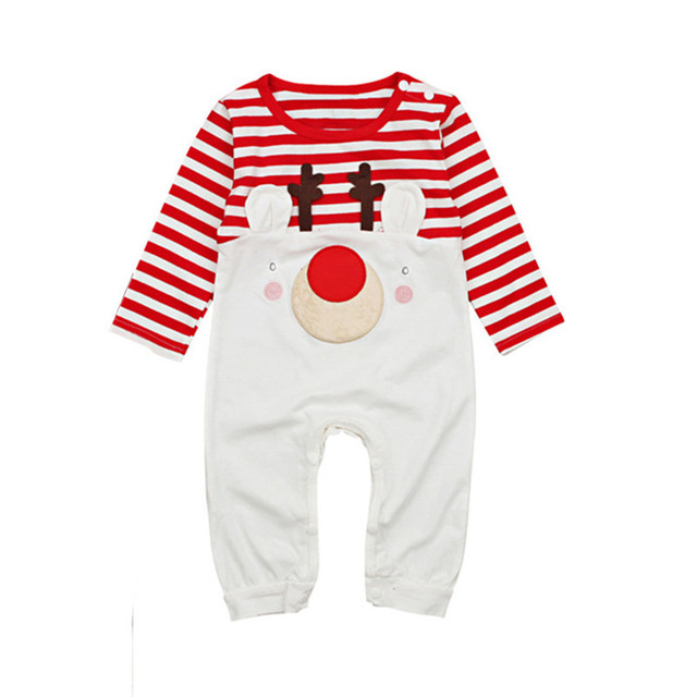 3bce10335f92d 2018 Christmas Xmas Newborn Infant Baby Boy Girl Clothing Cute Cartoon  Romper Striped Pajama Carters Outfit Children costume