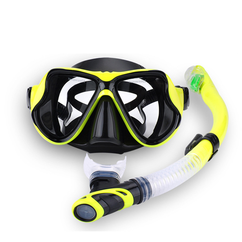 Professional Scuba Diving Mask Snorkel Anti-Fog Goggles Glasse Set Silicone Swimming Fishing Pool Equipment 7 Color Adult