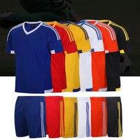 Adsmoney Men kids shortsleeve football jerseys kit soccer jersey set polyester uniforms tennis shirt shorts DIY number name