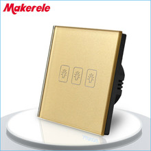 Touch Switch 3 Gang 1 Way EU Standard Gold Touch Screen wall switch wall socket for lamp