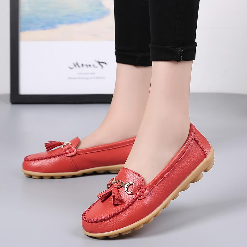Flat shoes woman tassel fringe solid color loafers women shoes round toe 2018 new fashion genuine leather flats shoes 2016 mother shoes genuine leather loafers woman solid color soft comfortable ballet flats flexible round toe ol lady work shoes