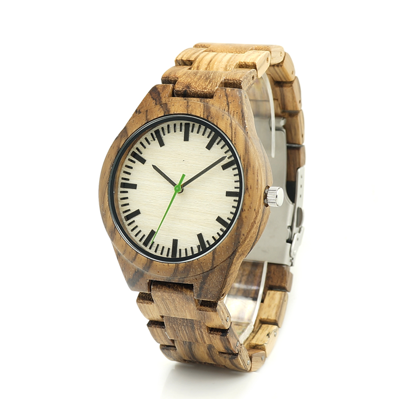 BOBO BIRD K25 Zebre Wooden Watch White Dial Face Full Wooden Fashion Clock Quartz Watches for Men with Gift Box  pure white dial face ziz time watches navy
