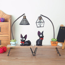 Creative LED Table Lamp Decoration Kiki's Delivery Service Magic Jiji Cat Hayao Miyazaki Cute Cat Home Decoration Resin Crafts