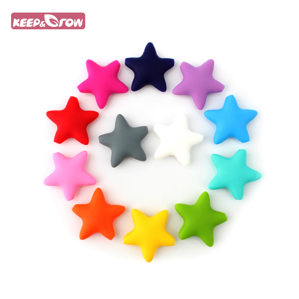 Keep&Grow 10 Pieces Star Silicone Beads Baby Teething Loose Beads Teether Food Grade Teether Beads Baby DIY Pacifier Chain