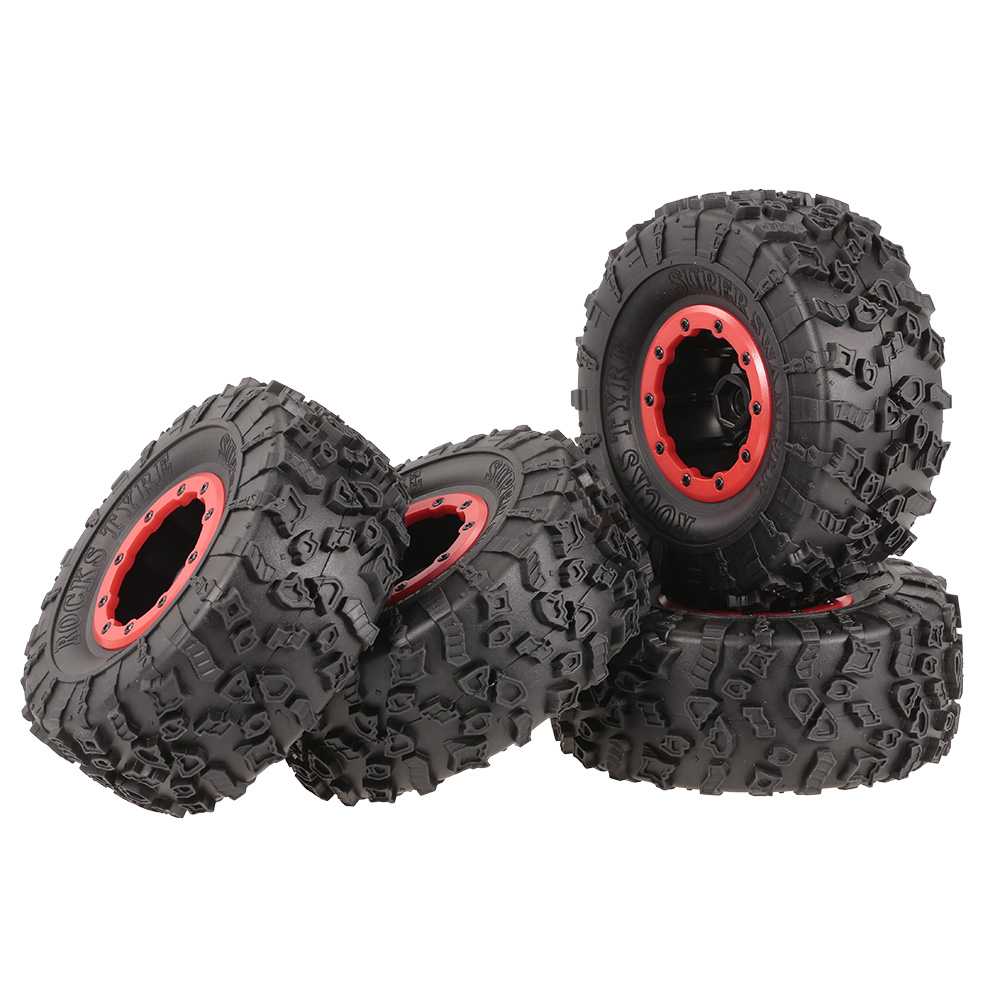 4021E 132mm 2.2inch Rim Rubber Tyre Wheel Set RC Tires for Axial SCX10 RC4WD D90 RC Car 1/10 RC Rock Crawler Truck 4pcs rc crawler truck 1 9 inch rubber tires