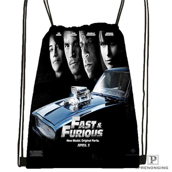 Custom Fast-Furious-  Drawstring Backpack Bag Cute Daypack Kids Satchel (Black Back) 31x40cm#2018611-2(8)