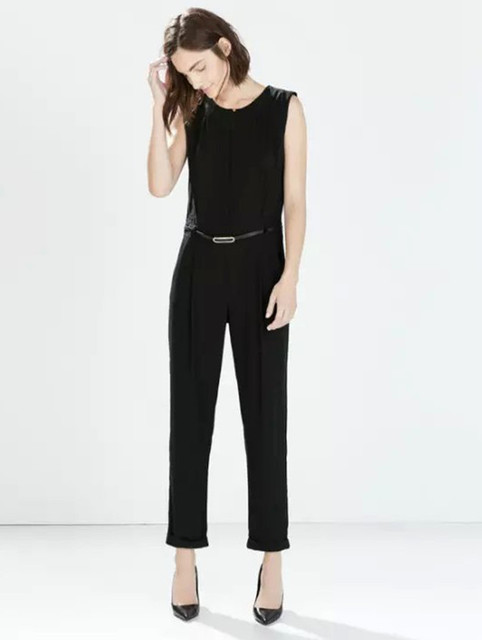 21c15ebb4da8 women new sleeveless jumpsuits Fashion office wear black full length  Jumpsuits with belt Spring summer 2015