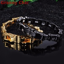 Granny Chic Charm Men Jewelry Biker Bicycle Motorcycle Chain Stainless Steel Men's Bracelet & Bangle Male Punk Silver Gold Black